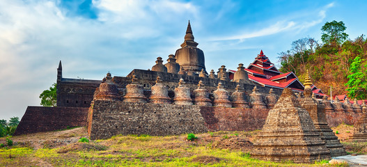 Shai-thaung Temple in Mrauk U. Myanmar. High resolution panorama
