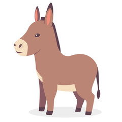 Cute donkey vector cartoon animal character. Mule illustration isolated on white background.