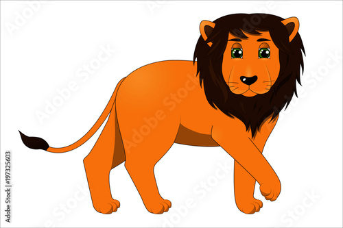 Cute cartoon male lion