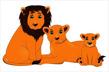Family of cute cartoon lions