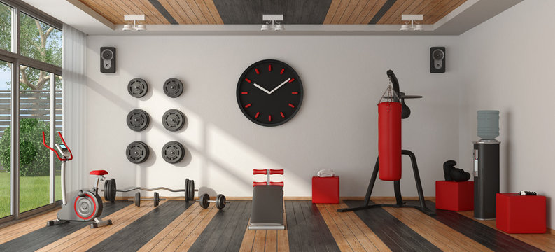 Home gym with sport equipment
