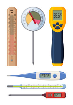 Set of realistic thermometers for different needs. Medical and cooking. Vector illustration.