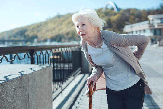 Intense pain. Tired elderly lady with a walking cane holding her hand on a lower back while feeling some physical discomfort and suffering from severe lumbar pain.