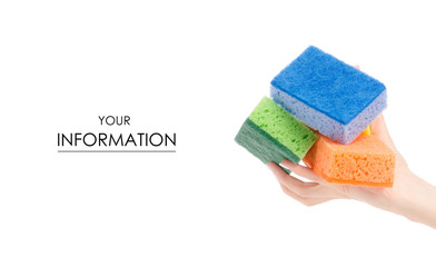 Female hands sponges for washing dishes pattern