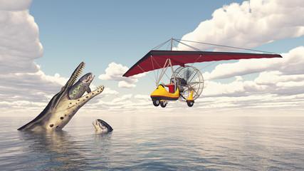Weltenbummler im Ultraleichtflugzeug und prähistorische Meerestiere