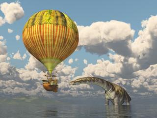 Fantasie Heißluftballon und der Dinosaurier Argentinosaurus
