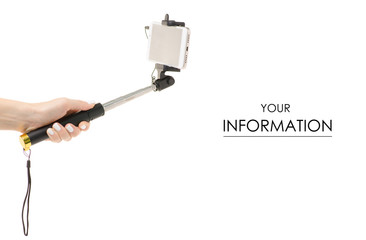 Smartphone and selfie stick in hand pattern