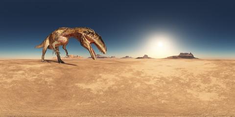 360 Grad Panorama mit dem Dinosaurier Acrocanthosaurus in einer Wüstenlandschaft