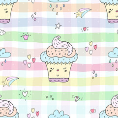 Cute hand drawn seamless pattern with cupcake pattern. vector illustration.