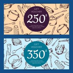 Vector gift voucher or discount card kitchen