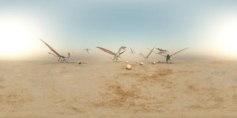 360 Grad Panorama mit Drachen in einer kargen Landschaft