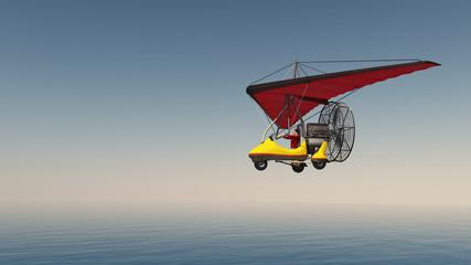Ultraleichtflugzeug über dem Meer
