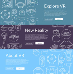 Vector banners illustration with linear style virtual reality elements