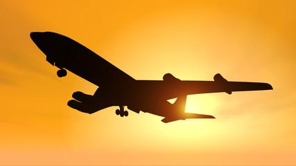 Silhouette eines Verkehrsflugzeuges vor einem gelben Himmel