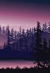 Nature background with river, tree and mountain, Portrait view wallpaper - Vector illustration
