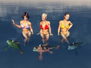 Attraktive Frauen im Meer umgeben von mönströsen Fischen