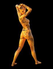 Humanoider Roboter mit Pose, Freisteller