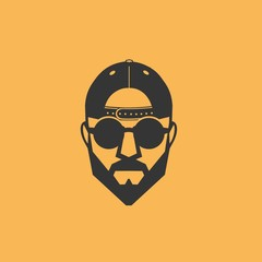 Man baseball cap glasses