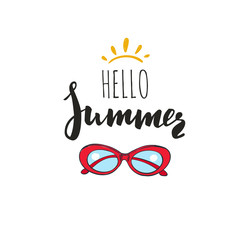 Hello Summer. Vector Inspirational Summer Typography with Sunglasses, Quote for hipster design logo, typography, banner.