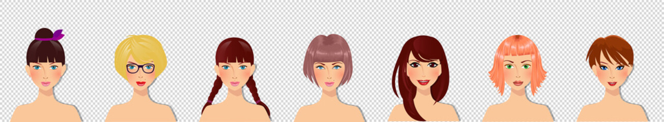 Cute cartoon girls characters portrait for avatar isolated on transparent background.