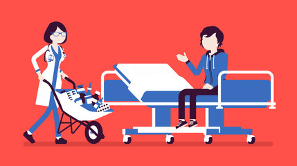 Patient and hospital doctor with cart full of medicines