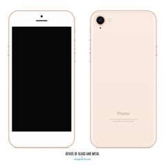 smartphone gold color with blank screen and back side on white background. stock vector illustration eps10