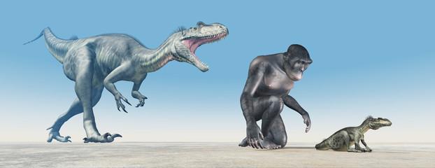 Homo habilis und der Dinosaurier Megalosaurus