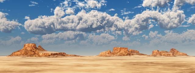 Wüstenpanorama und Schönwetterwolken