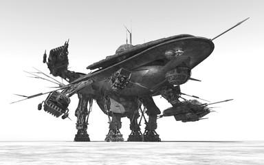 Riesiges Raumfahrzeug in einer Landschaft