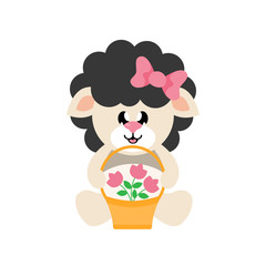 cartoon cute sheep black girl sitting with bow and basket and flowers