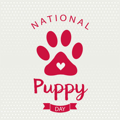 National Puppy Day card or background. vector illustration.