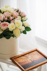 Bridal bouquet and picture in frame