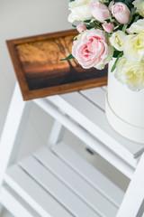Wedding theme, bridal bouquet indoors