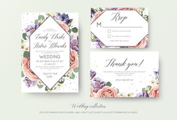 Wedding floral invitation, rsvp, thank you card elegant botanical design with lavender pink garden rose flowers, violet succulents, eucalyptus leaves & geometrical frame. Beautiful modern template set