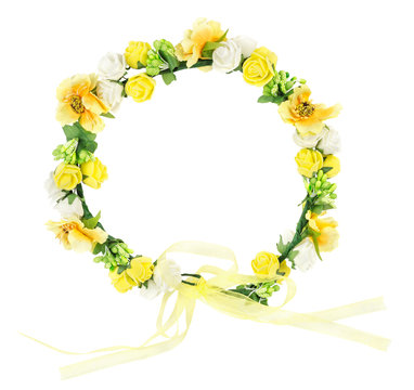 Yellow flower wreath isolated on white