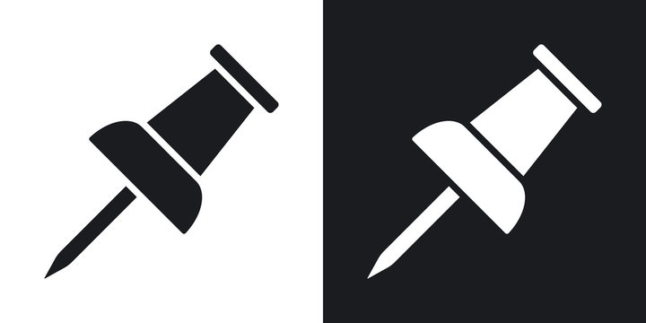 Vector push pin icon. Two-tone version on black and white background