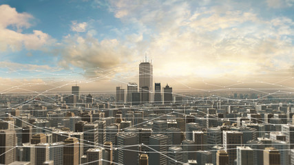Aerial view of city skyline with futuristic network connections. Futuristic technology related concept.