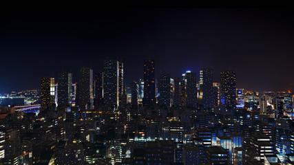 Futuristic city skyline at night time.