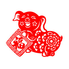 Red paper cut pig zodiac hold Chinese knot (Chinese word mean Good Fortune) sign isolate on white background vector design