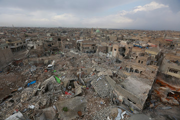 General view of destroyed buildings in the old city of Mosul