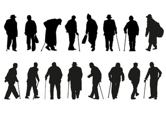 silhouettes of older men in different movements