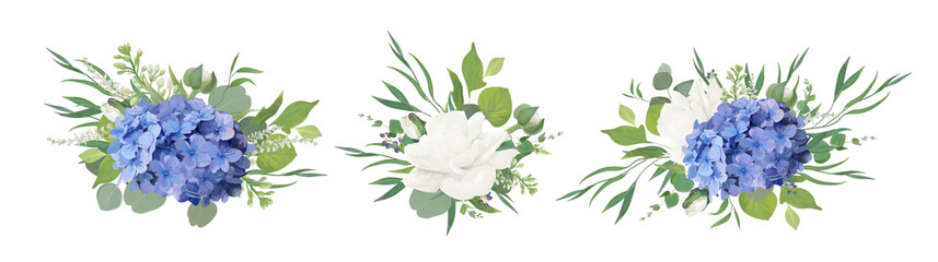 Vector floral bouquet design: blue hydrangea flower, garden peony Rose, anemone poppy, ranunculus bud, white lilac, eucalyptus branches & greenery leaves. Vector, watercolor style designer element set
