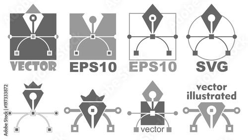 Pen tool icon  Bezier curve, graphic design symbol  Editable and