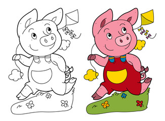Fotobehang - cartoon scene with pig running and playing holding kite - on white background with coloring page - illustration for children