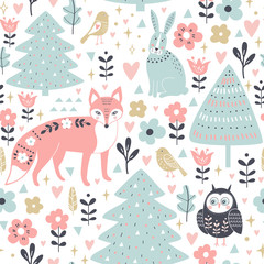 Seamless pattern with cute animals in cartoon style: fox, rabbit, owl.