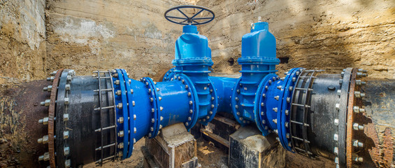 Large valves on the pipeline.