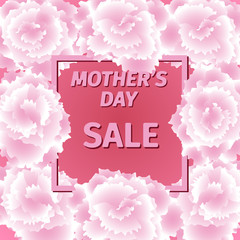 Mother s day sale card with carnation flowers.