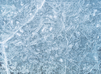 Ice texture, background. High angle view of empty frozen lake with copy space