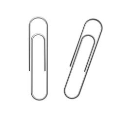 Paper clip vector. Realistic metal paper clip icon. Flat isolated vector illustration on a white background.