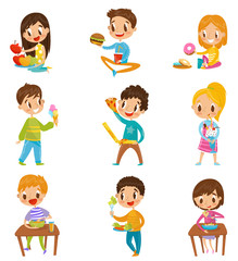 Cute boy and girls having brekfast or lunch set, kids enjoying their meal vector Illustrations on a white background